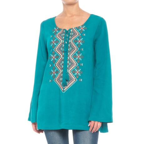 Roper Tie Front Embroidered Shirt - Long Sleeve (For Women) in Teal