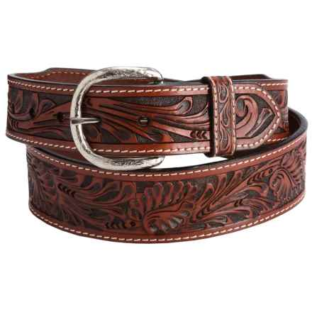 Roper Tooled Leather Belt (For Men) in 233 Cognac - Closeouts