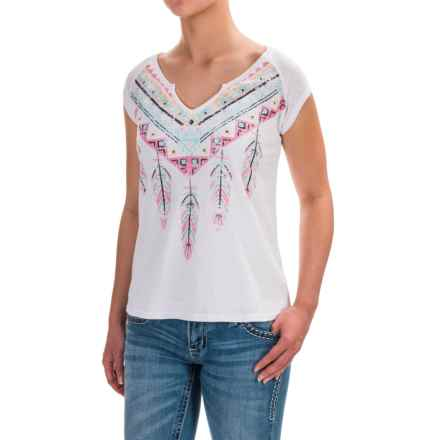 Roper Tribal Feather Shirt - Short Sleeve (For Women) in White - Closeouts