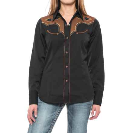 Roper Two-Tone Aztec Western Shirt - Snap Front, Long Sleeve (For Women) in Black - Closeouts