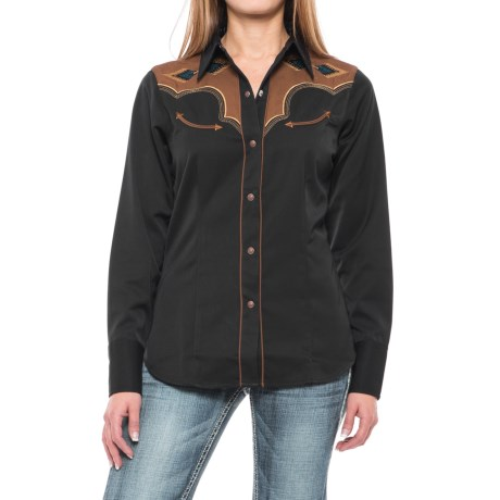 Roper Two-Tone Aztec Western Shirt - Snap Front, Long Sleeve (For Women) in Black