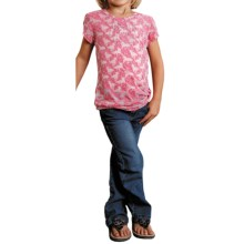 Roper Vine and Horse Burnout T-Shirt - V-Neck, Short Sleeve (For Girls) in Red - Closeouts