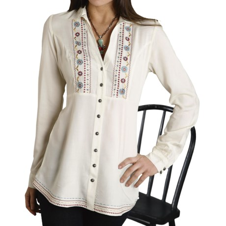 Roper Vintage Blues Challis Shirt - Long Sleeve (For Women) in Cream