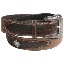 Roper Western Belt - Leather, Basket Weave Overlay (For Men) in Brown - Closeouts
