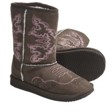 Roper Western Boots - Suede, Faux-Shearling Lining (For Kids) in Brown - Closeouts