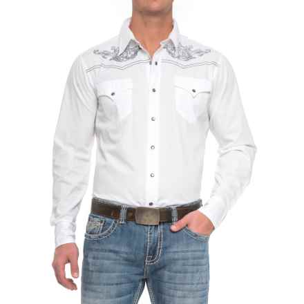 Roper Western Embroidered Shirt - Snap Front, Long Sleeve (For Men) in White - Closeouts