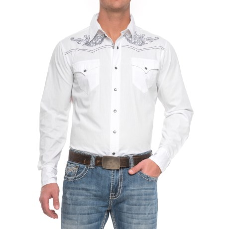 Roper Western Embroidered Shirt - Snap Front, Long Sleeve (For Men) in White
