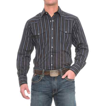 Roper Western Shirt - Snap Front, Long Sleeve (For Big and Tall Men) in Black/Blue - Closeouts