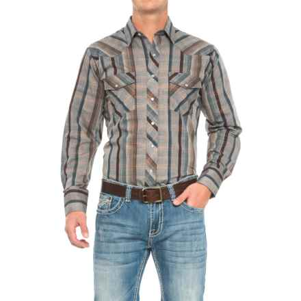 Roper Western Shirt - Snap Front, Long Sleeve (For Big and Tall Men) in Brown/Grey - Closeouts