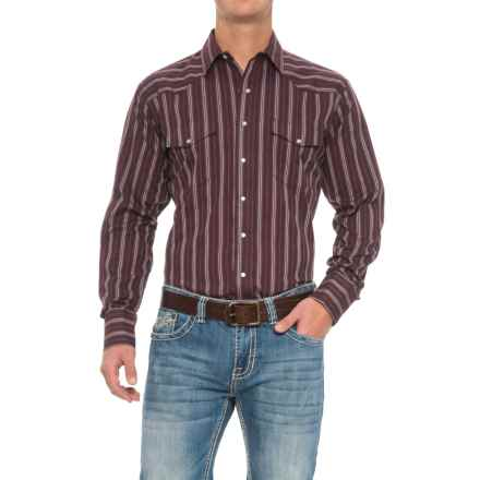 Roper Western Shirt - Snap Front, Long Sleeve (For Big and Tall Men) in Wine - Closeouts