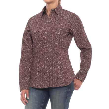 Roper Western Shirt - Snap Front, Long Sleeve (For Women) in Wine Floral Ditzy Print - Closeouts