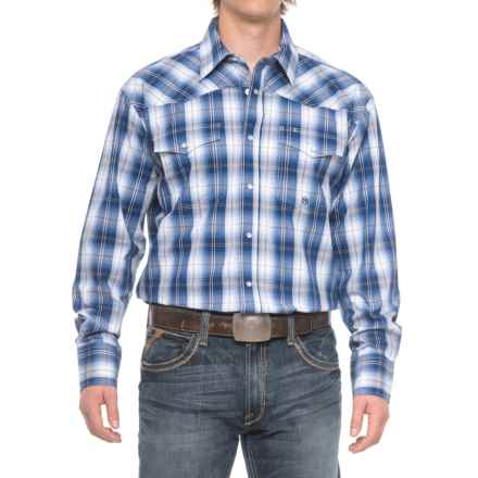 Roper Western Snap Shirt - Long Sleeve (for Men) in Blue River Plaid - Closeouts
