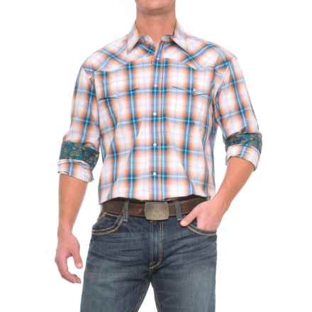 Roper Western Snap Shirt - Long Sleeve (for Men) in Canyon Ombre Plaid - Closeouts