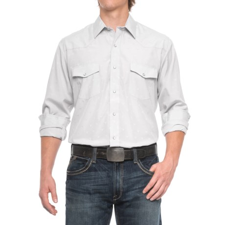 Roper Western Solid Shirt - Snap Front, Long Sleeve (For Men) in Light Grey