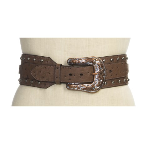 Roper Wide Ostrich Bling Hip Belt (For Women) in Brown