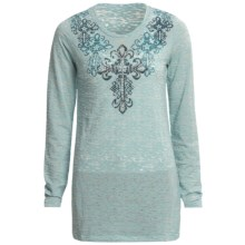 Roper Winterblue Burnout Shirt - Long Sleeve (For Women) in Blue - Closeouts