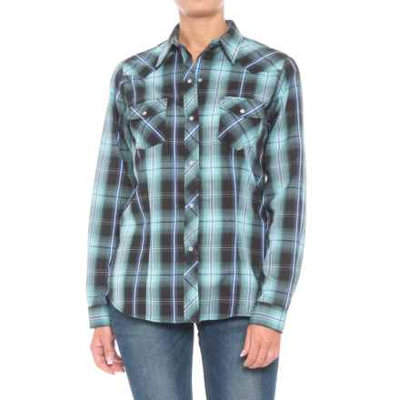 Roper Woven Plaid Shirt - Snap Front, Long Sleeve (For Women) in Black/Blue Plaid - Closeouts