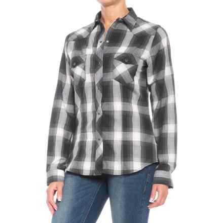 Roper Woven Plaid Shirt - Snap Front, Long Sleeve (For Women) in Black/Grey/Cream Ombre - Closeouts