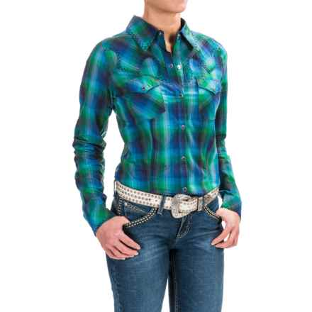 Roper Zigzag Trim Western Shirt - Snap Front, Long Sleeve (For Women) in Green - Closeouts