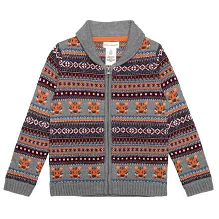 Rorie Whelan Jacquard Cardigan Sweater (For Toddler Boys) in Charcoal Heather - Closeouts