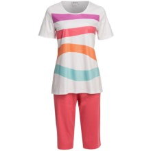 Rosch Capri Pajamas - Interlock Cotton, Short Sleeve (For Women) in Peach - Closeouts