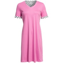 Rosch Contrast Rounded V-Neck Nightshirt - Cotton, Short Sleeve (For Women) in Pink - Closeouts
