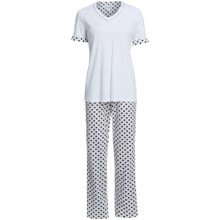 Rosch Contrast V-Neck Pajamas - Short Sleeve (For Women) in White/Sand - Closeouts