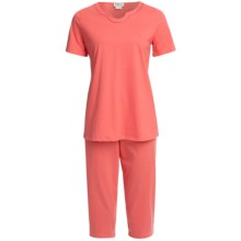 Rosch Horseshoe Neck Capri Pajamas - Short Sleeve (For Women) in Peach - Closeouts
