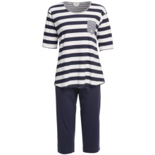 Rosch Short Cotton Pajamas - Elbow Sleeve (For Women) in Navy - Closeouts