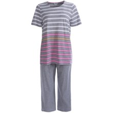 Rosch Striped Capri Pajamas - 3/4 Sleeve (For Women) in White/Grey - Closeouts
