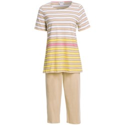Rosch Striped Capri Pajamas - 3/4 Sleeve (For Women) in White/Sand
