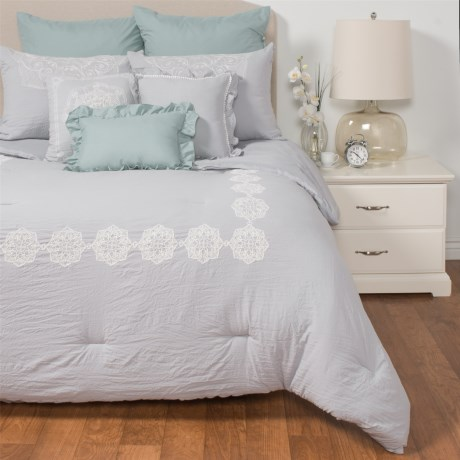 Rose of Baltimore Sutton Comforter Set - Queen, 8-Piece in Silver