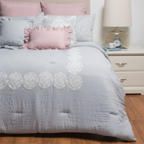 Rose of Baltimore Woodward Comforter Set - Queen, 8-Piece in Grey