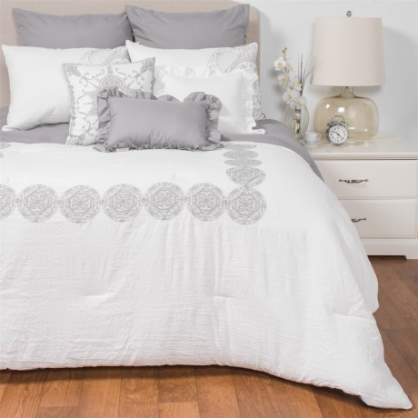 Rose of Baltimore Woodward Comforter Set - Queen, 8-Piece in White