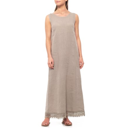 df72efac8ab41 Rosemarine Made in Italy Taupe Crochet Trim Maxi Dress - Linen