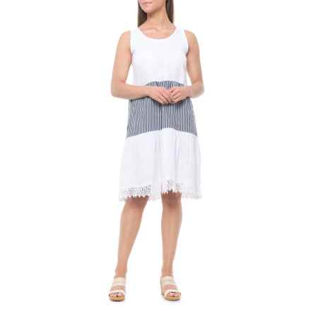 9d52051054 Rosemarine Made in Italy White Blue Stripe Stripes and Crochet Dress - Linen