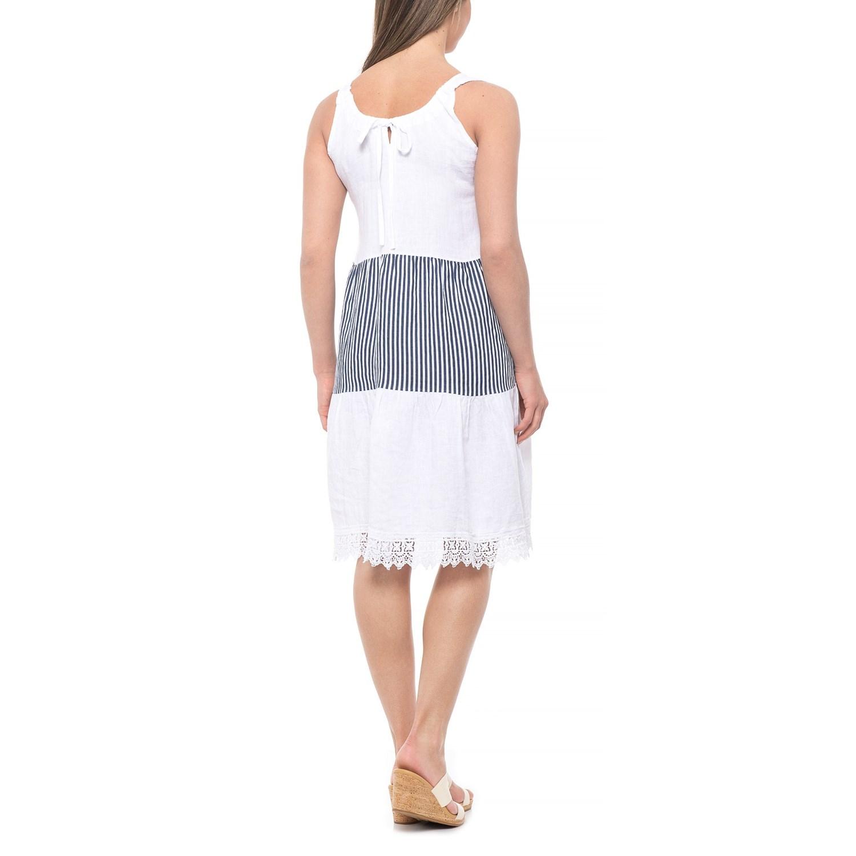 c0667e2fa552cd Rosemarine Made in Italy White Blue Stripe Stripes and Crochet Dress - Linen