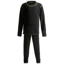 Rossignol Base Layer Top and Bottoms Set - Midweight (For Little Boys) in Black/Mint - Closeouts