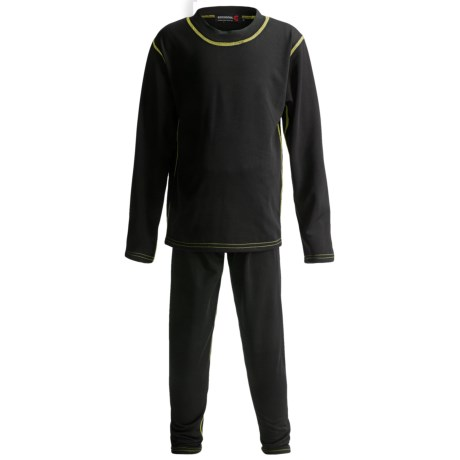 Rossignol Base Layer Top and Bottoms Set - Midweight (For Little Boys) in Black/Mint