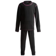 Rossignol Base Layer Top and Bottoms Set - Midweight, Long Sleeve (For Little Girls) in Black/Fuschia - Closeouts