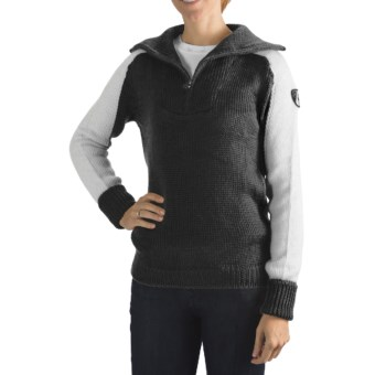 Rossignol Heritage Pullover Sweater - Zip Neck (For Women) in Black