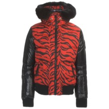 Rossignol Mareva Print Down Jacket - Fur Trim (For Women) in Red - Closeouts