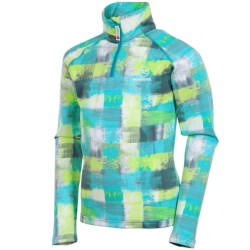 Rossignol Warm Stretch Pullover - Zip Neck, Long Sleeve (For Girls) in Paint Freeze
