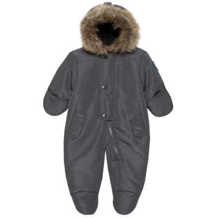 ROTHSCHILD Faux-Fur Trim Baby Bodysuit - Insulated (For Infant Boys) in Charcoal - Closeouts