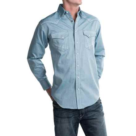 Rough Stock by Panhandle Creed Micro-Twill Western Shirt - Snap Front, Long Sleeve (For Men) in Blue - Closeouts