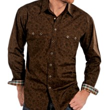 Rough Stock by Panhandle Del Moro Vintage Print Western Shirt - Snap Front, Long Sleeve (For Men) in Chocolate - Closeouts