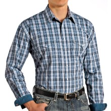 Rough Stock by Panhandle Hanly Vintage Ombre Plaid Shirt - Snap Front, Long Sleeve (For Men) in Blue - Closeouts