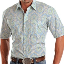 Rough Stock by Panhandle Slim Layuca Shirt - Snap Front, Short Sleeve (For Men) in White/Green/Teal - Closeouts