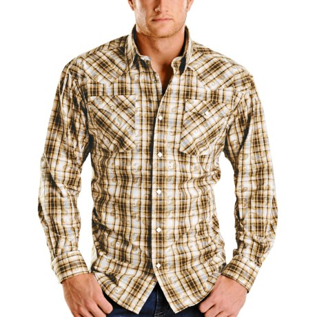 Rough Stock Ombre Plaid Shirt - Long Sleeve (For Men) in Blue