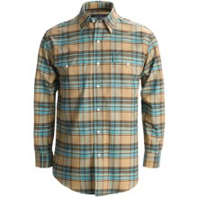 Rough Stock Oxford Plaid Shirt - Snap Front, Long Sleeve (For Men) in 25 Camel - Closeouts